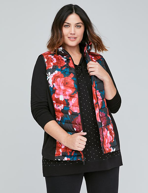 Fabric Mix Active Puffer Vest