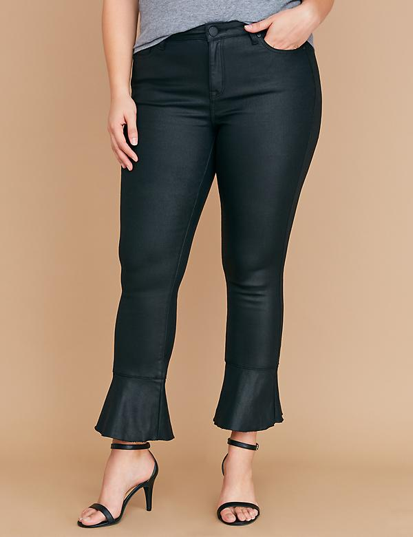 Super Stretch Skinny Jean - Coated Ruffle Hem