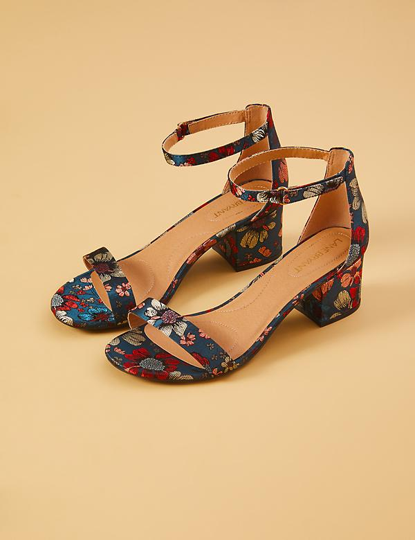 Brocade Short Ankle-Strap Block Heel