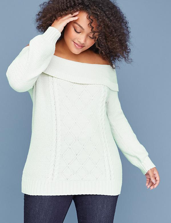 Off-the-Shoulder Cable Sweater