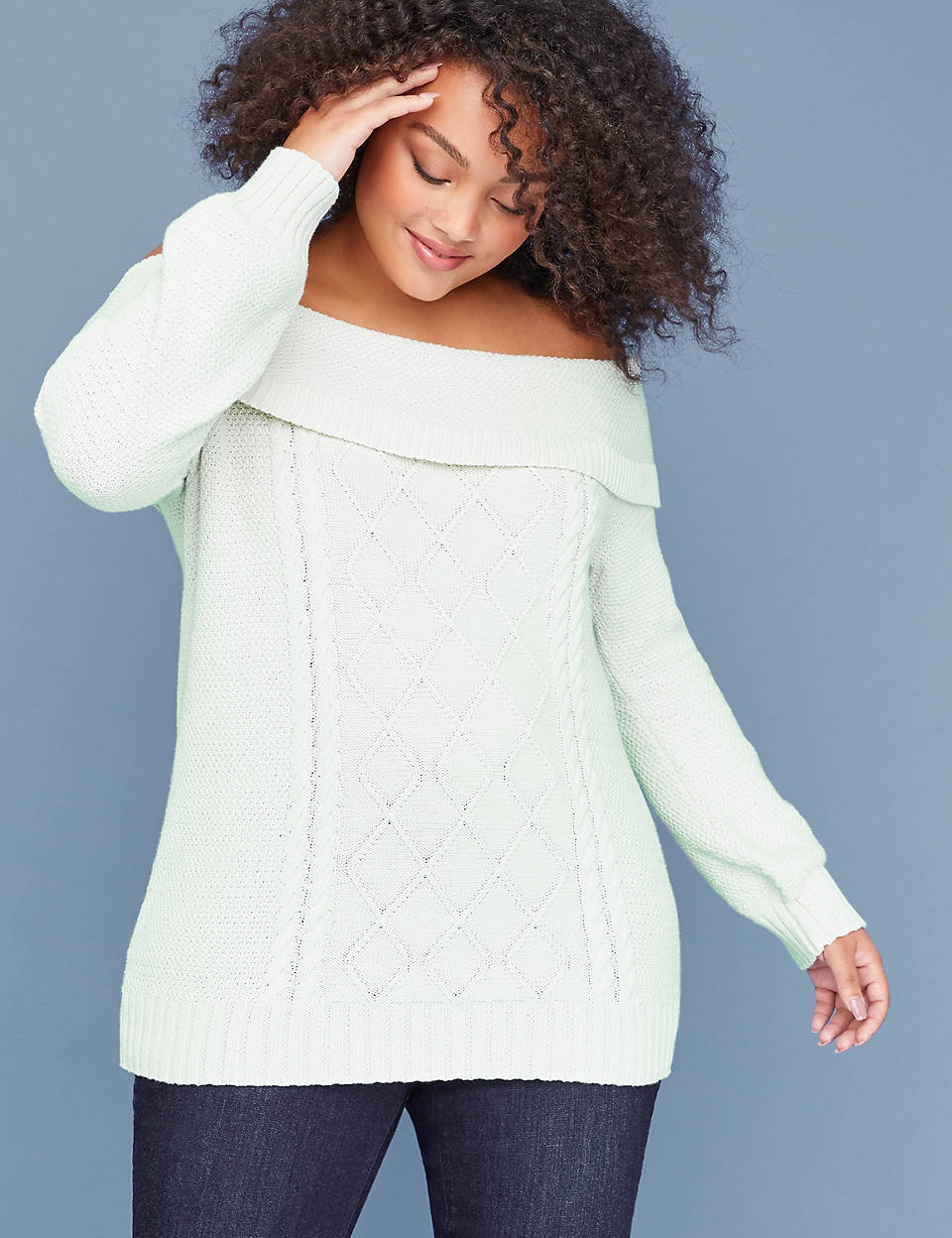 0f7d6430b3b Off-the-Shoulder Cable Sweater | Lane Bryant