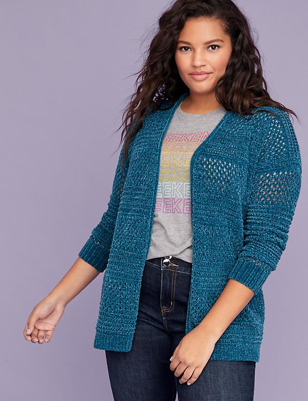 Open-Stitch Chenille Overpiece Sweater