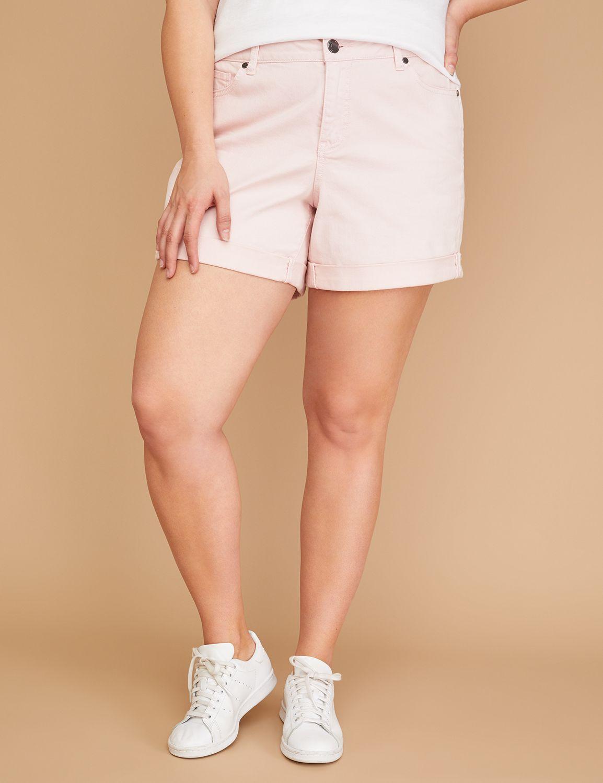 Petite Girlfriend Denim Short - Lotus Pink