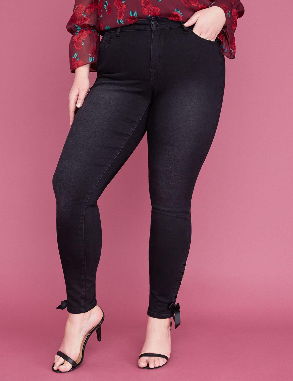 Petite Power Pockets Super Stretch Skinny Jean - Satin Lace-Up Hem