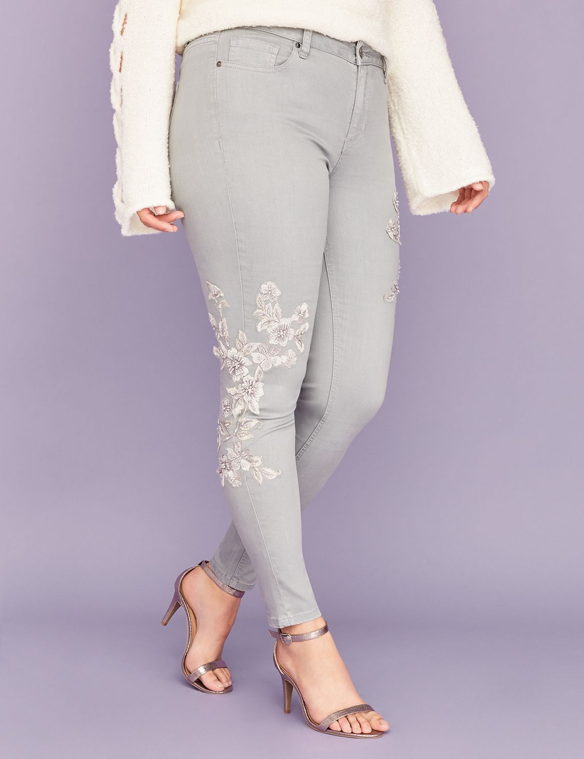 Petite Super Stretch Skinny Jean - Gray with Floral Applique