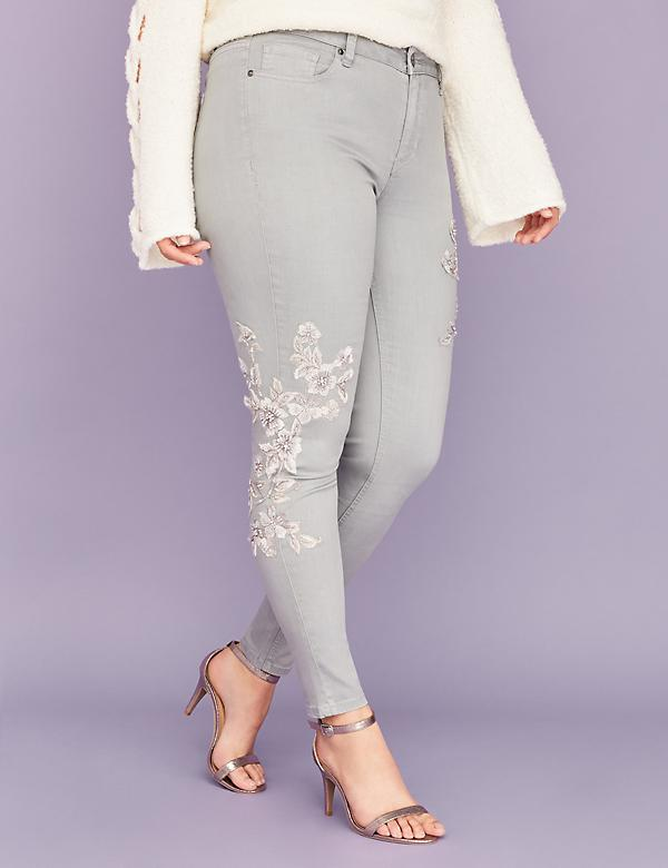 Super Stretch Skinny Jean - Gray with Floral Applique