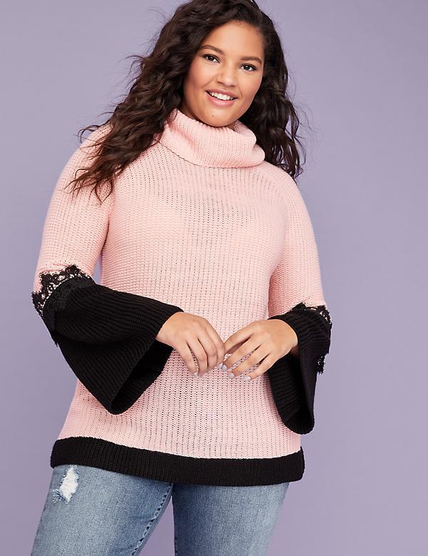 Lace-Sleeve Cowl-Neck Sweater