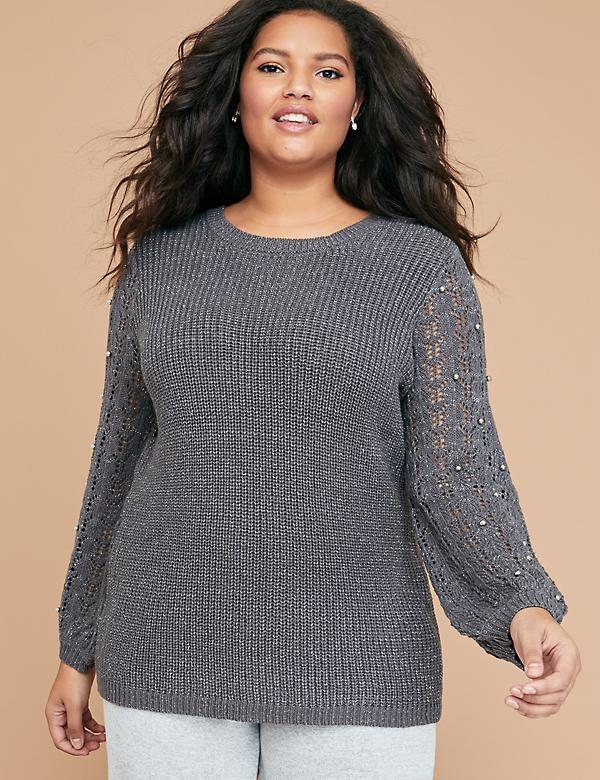 Metallic & Faux Pearl Sweater