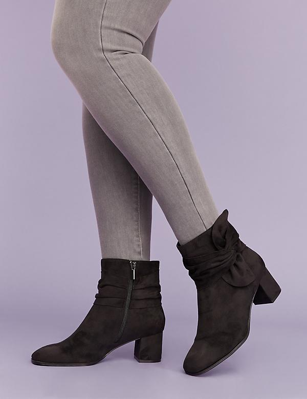 Faux Suede Bow Ankle Boot