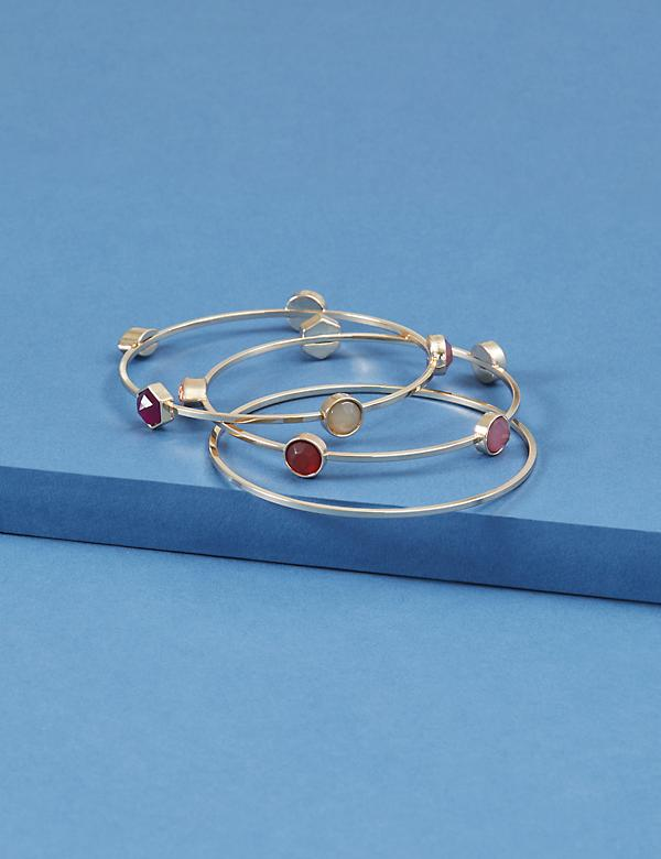 3-Row Bezel Stone Bangle Set
