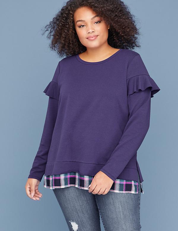 Ruffle-Sleeve Sweatshirt with Plaid Trim