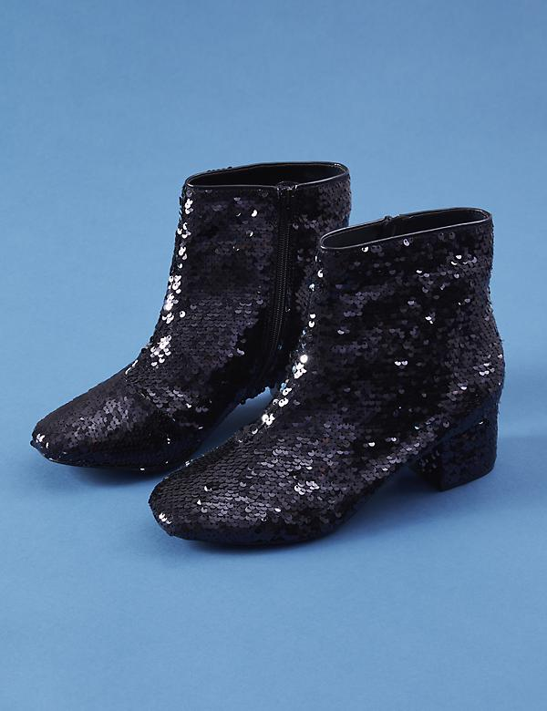 Sequin Low Block Heel Ankle Boot