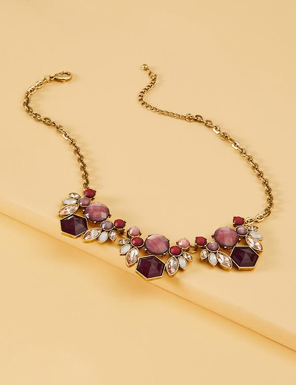 Mauve Floral Stone Statement Necklace