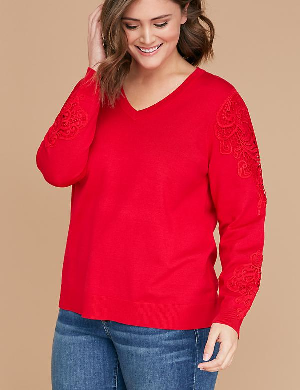 Lace-Shoulder Sweater