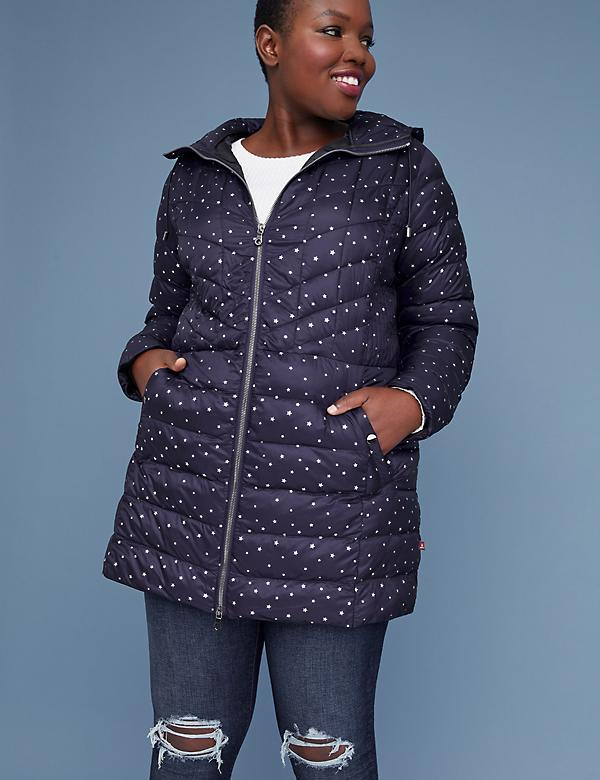 Midi Packable Puffer Jacket with Thermoplume Technology - Night Sky
