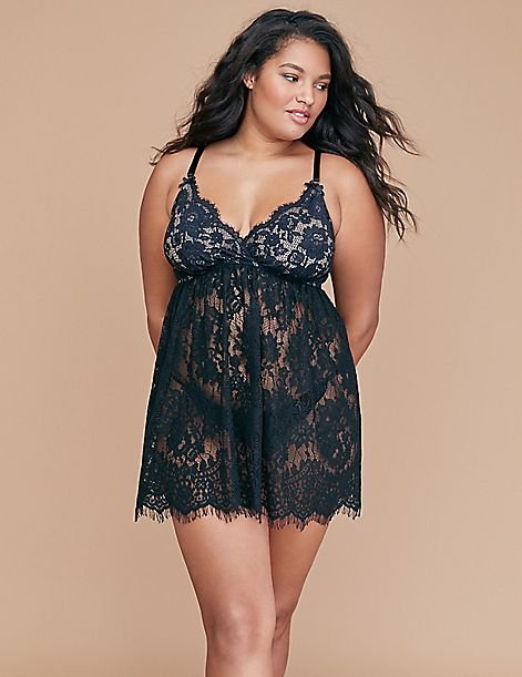 Lace No-Wire Babydoll - Strappy Back