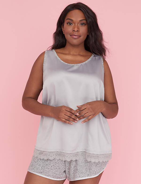 Mixed Fabric Sleep Tank - Satin & Lace