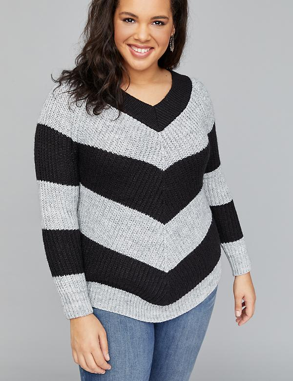Mitered Chevron Ribbed Sweater