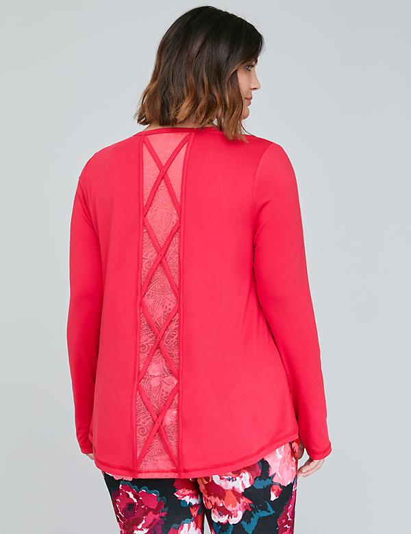 Wicking Long-Sleeve Active Tee - Strappy Lace Inset