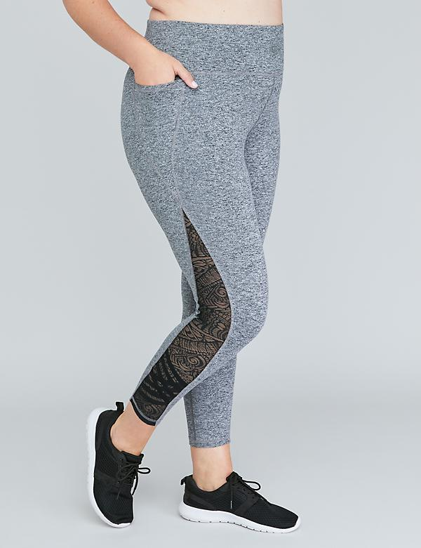 Wicking Active 7/8 Legging - Strappy Lace Inset