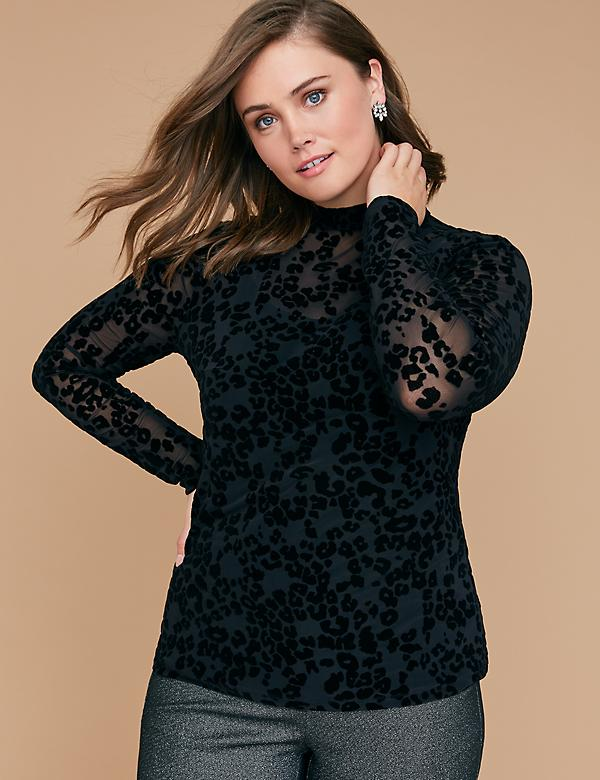 Leopard Mesh Mock-Neck Top