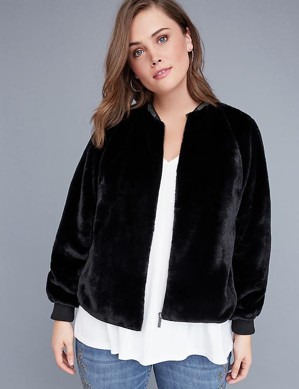 Fast Lane Faux Fur Bomber Jacket with Embellished Neckline