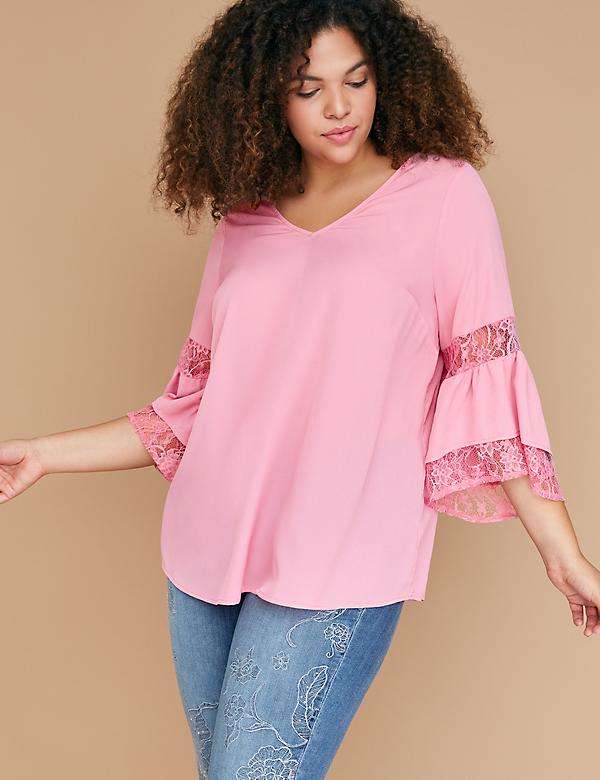 Tiered Ruffle-Sleeve Top with Lace