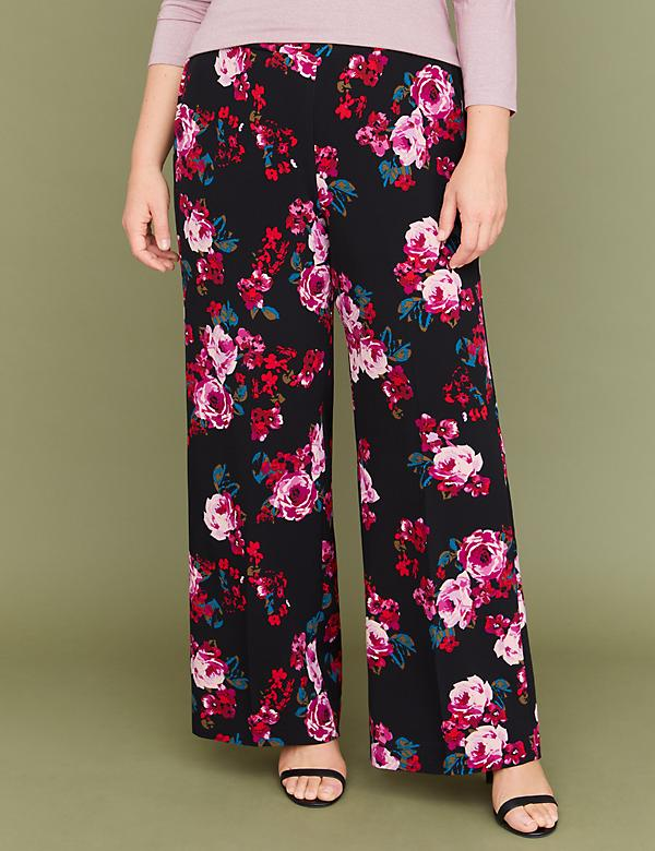 Rose Print Wide Leg Pant - Pull-On Crepe