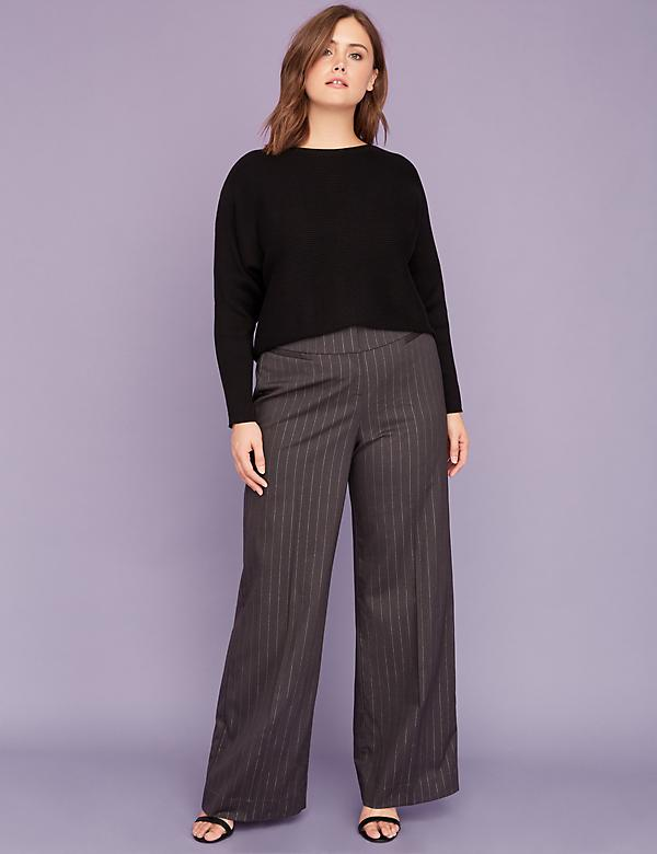 Allie Tailored Stretch Wide Leg Pant - Metallic Stripe