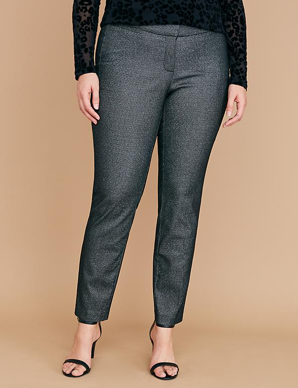 Power Pockets Allie Sexy Stretch Ankle Pant - Silver Sparkle