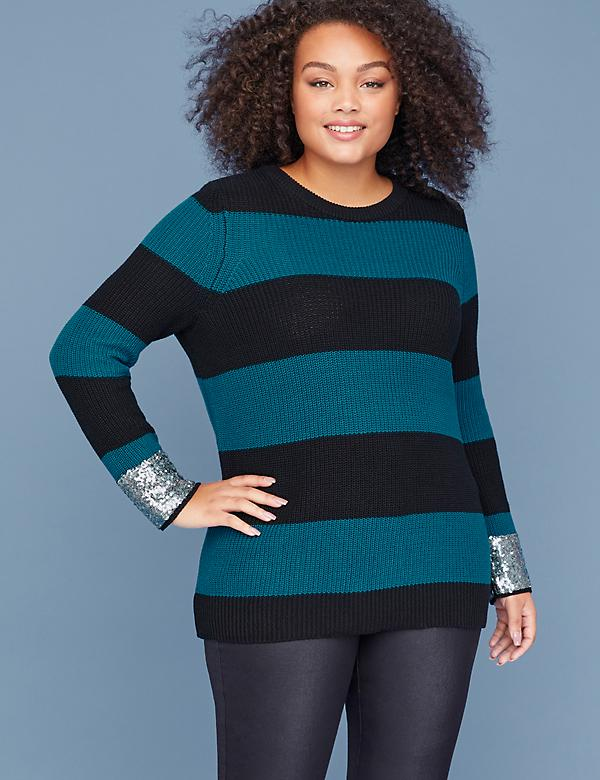 Striped Sequin-Cuff Sweater