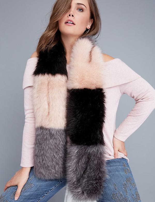 Fast Lane Colorblock Faux Fur Pull-Through Scarf