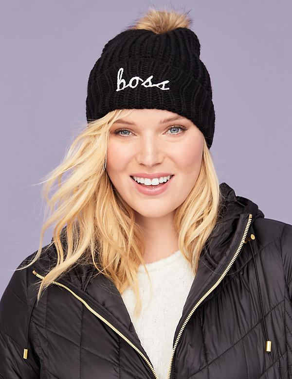 Ribbed Knit Hat - Embroidered Graphic