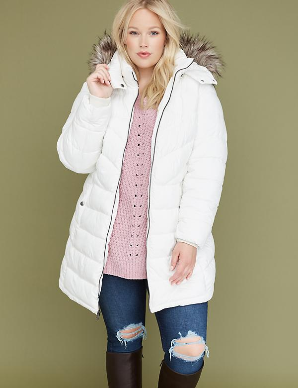 Fur-Trim Hooded Puffer Jacket - White
