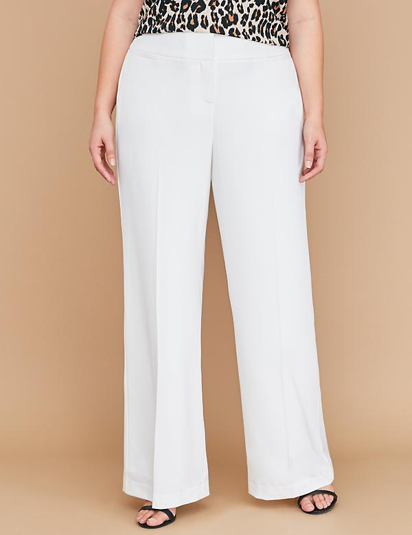 Allie Tailored Stretch Wide Leg Pant - Fully Lined Cream