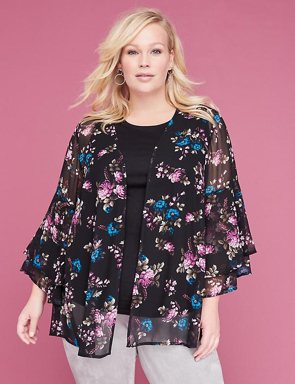 Floral Ruffle-Sleeve Overpiece