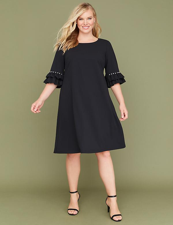 3/4 Pearl-Sleeve Swing Dress