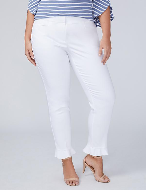Allie Modern Stretch Ankle Pant - Ruffle
