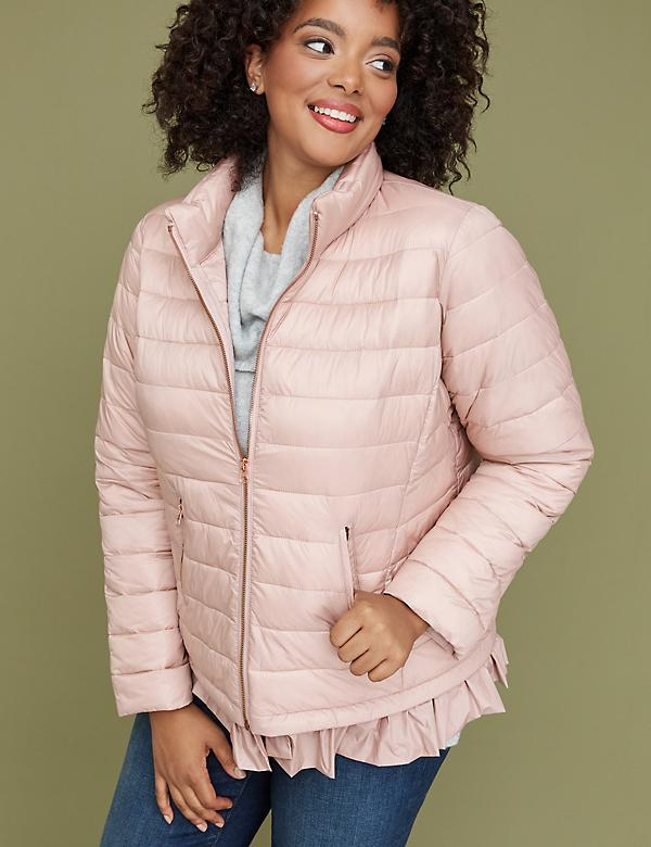 Peplum Packable Puffer Jacket with Thermoplume Technology - Blush