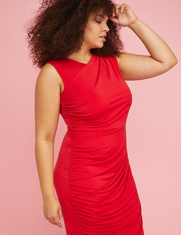 Built-In Smoothing Slip Ruched Sheath Dress