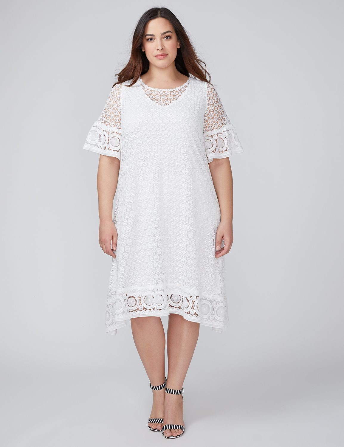 60s 70s Plus Size Dresses, Clothing, Costumes Lane Bryant Womens Crochet Swing Dress 12 White $73.99 AT vintagedancer.com
