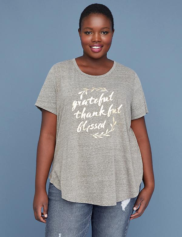 Grateful Thankful Blessed Metallic Graphic Tee