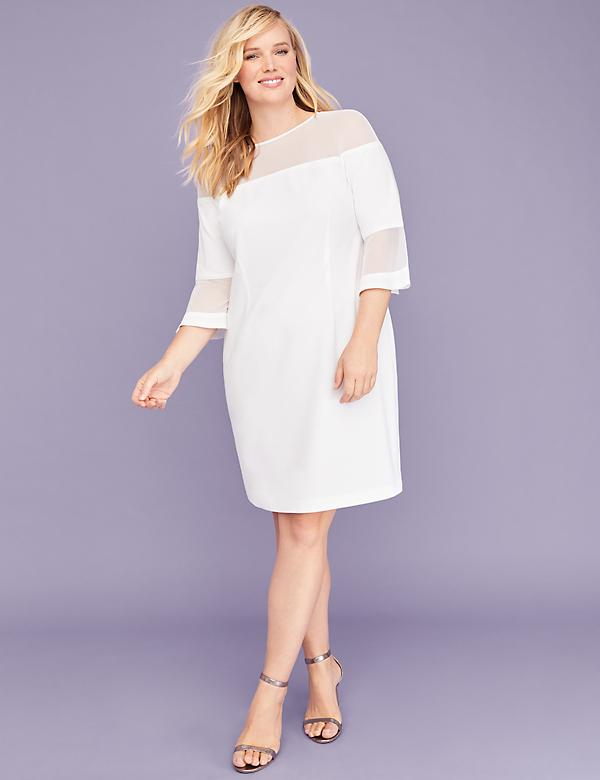 3/4 Bell-Sleeve Mesh-Yoke Sheath Dress