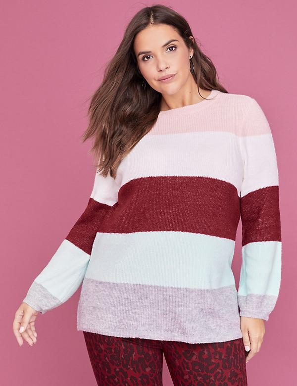Textured Striped Blouson-Sleeve Sweater