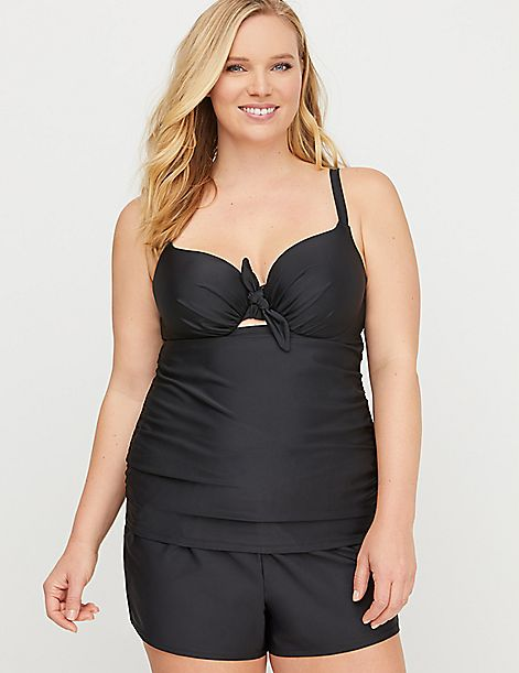 Knot-Front Swim Tankini Top with Balconette Bra