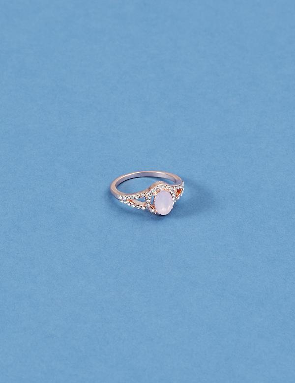 Blush Stone & Pave Ring