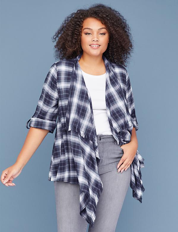 Plaid Fringe Overpiece