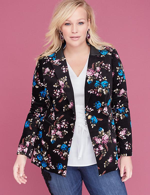Bryant Blazer - Floral Velvet Single Button