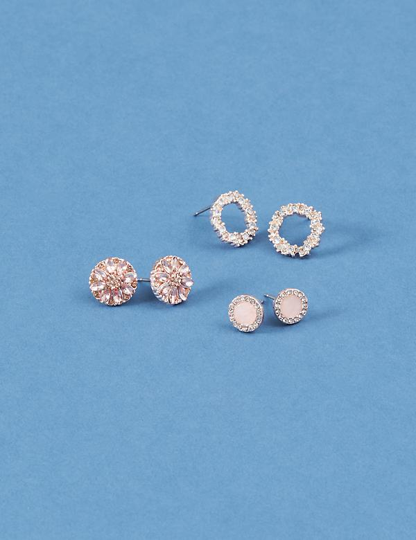 Round Stud Earrings 3-Pack