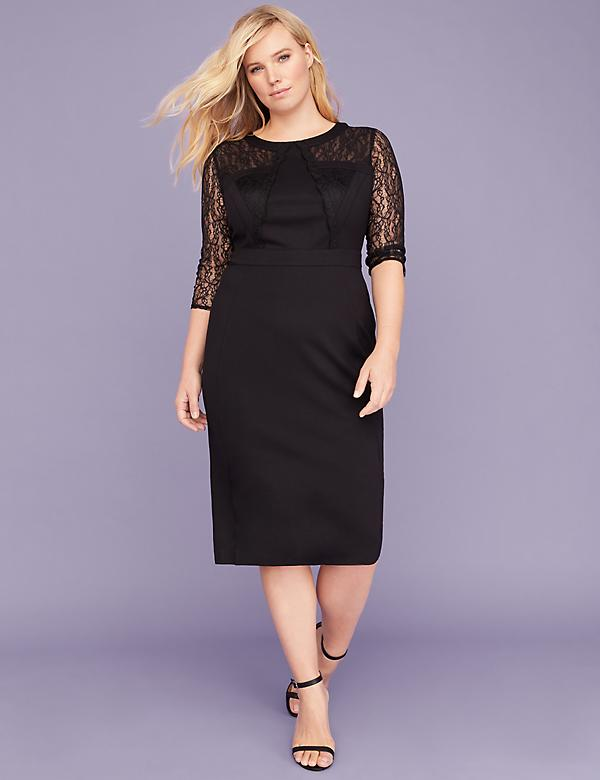 Lace-Sleeve Ponte Sheath Dress
